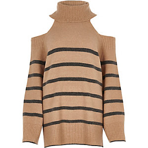 Beige stripe roll neck cold shoulder sweater