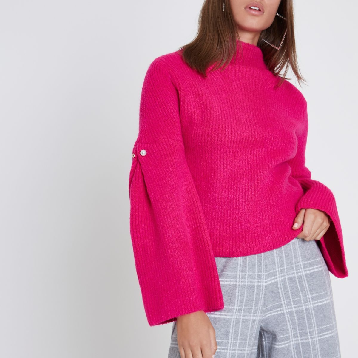 Pink high neck wide sleeve faux pearl sweater