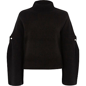 Black high neck wide sleeve faux pearl sweater