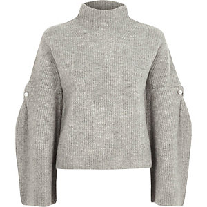 Grey high neck wide sleeve knit sweater