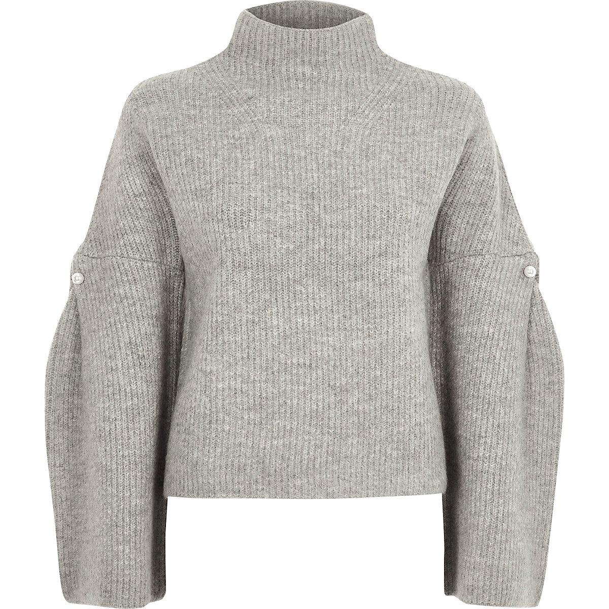 Grey high neck wide sleeve knit jumper