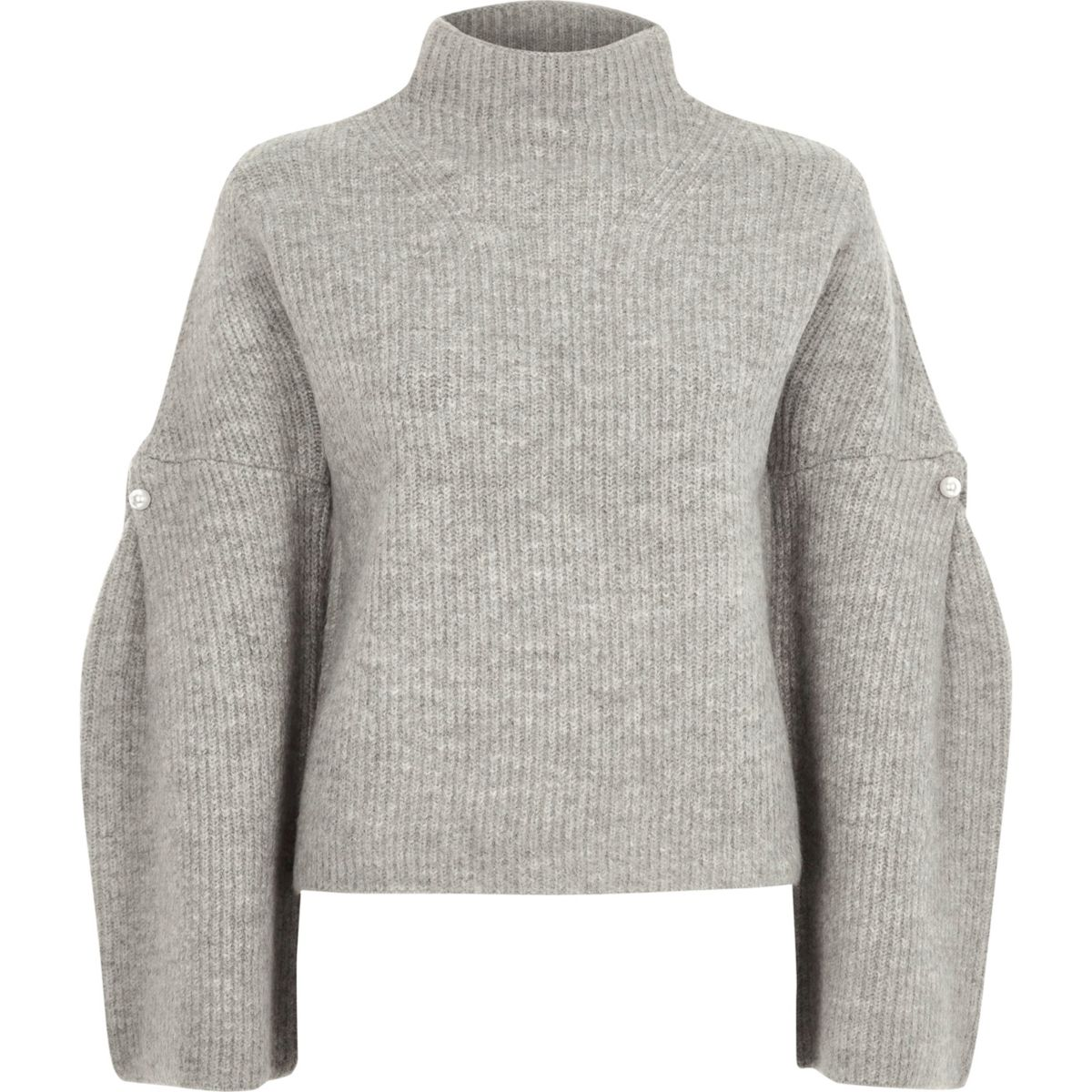 Grey high neck wide sleeve knit jumper