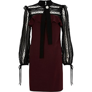 Burgundy lace yoke and sleeve swing dress