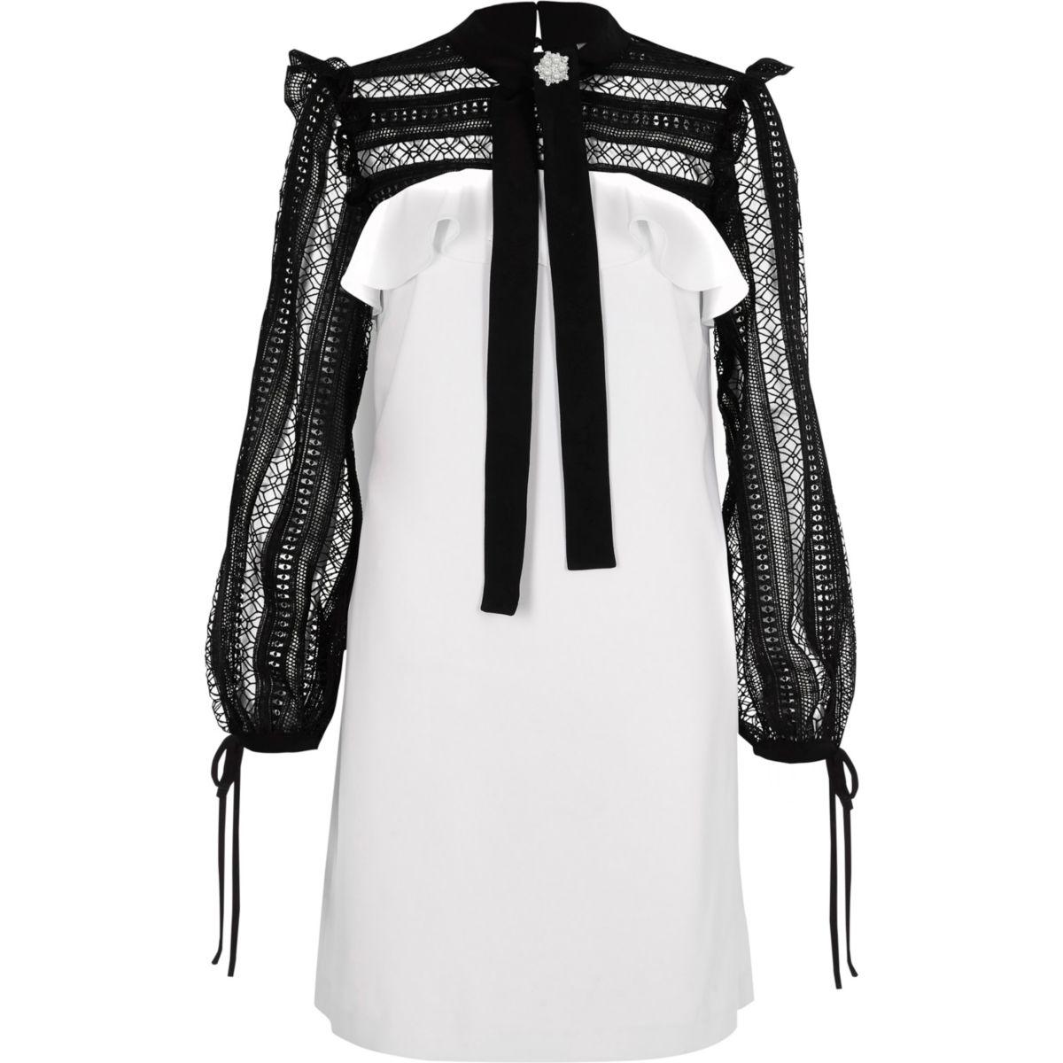 White lace yoke and sleeve swing dress