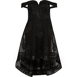 Black mesh embroidered high-low bardot dress