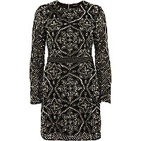 Black sequin embellished bodycon mini dress