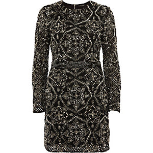 Black sequin embellished bodycon mini dress