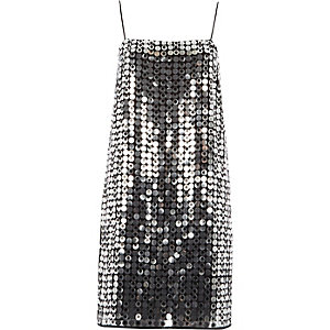 Silver sequin strappy slip dress