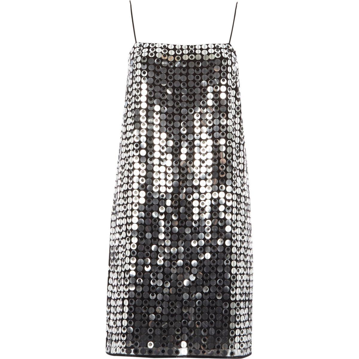 Silver sequin strappy slip dress