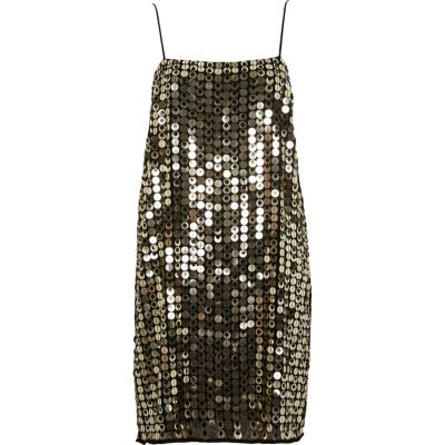 River Island Slipdress met goudkleurige metallic lovertjes