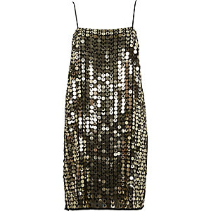 Gold metallic disk sequin slip dress