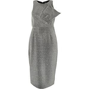 Glitzerndes Bodycon-Kleid in Silber-Metallic