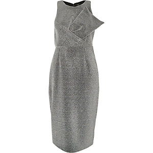 Silver metallic glitter bow bodycon dress