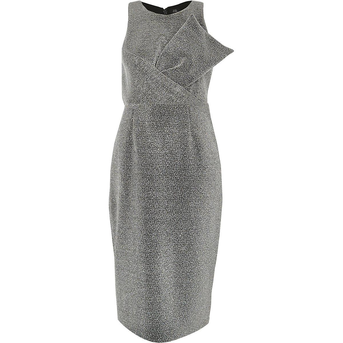 Silver metallic glitter bow bodycon dress