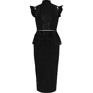 Black eyelet lace peplum bodycon midi dress