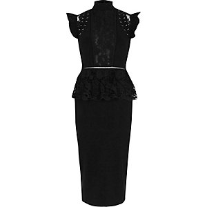 Zwarte bodycon midi-jurk met oogjes en kanten peplum