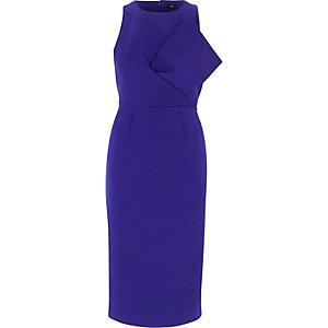 Blue bow front sleeveless bodycon midi dress