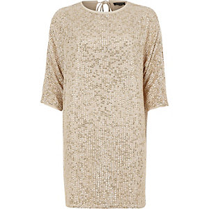 Gold sequin embellished T-shirt shift dress