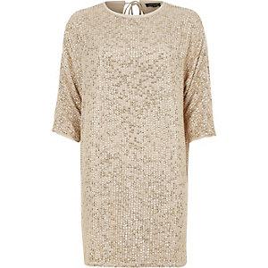 Robe t-shirt droite dorée ornée de sequins