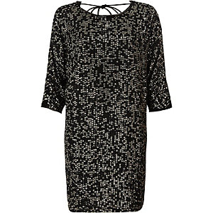 Black sequin embellished T-shirt shift dress