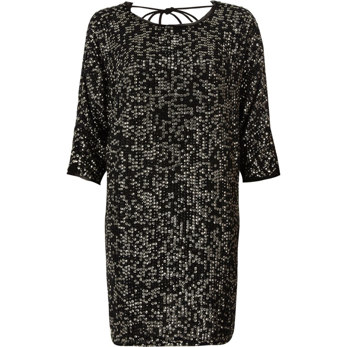 Black sequin embellished T-shirt shift dress
