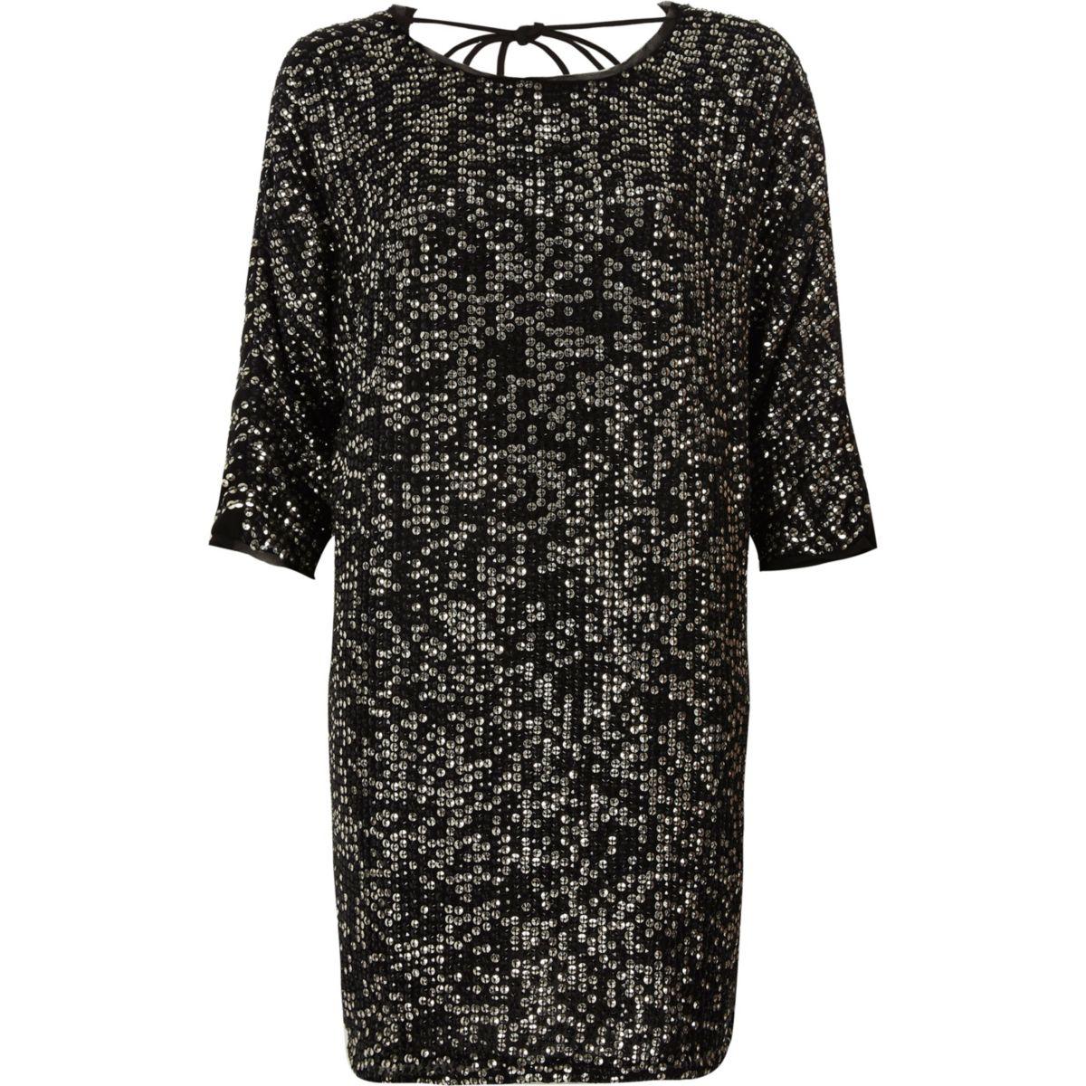 Black sequin embellished t shirt shift dress dresses for Sequin t shirt changing