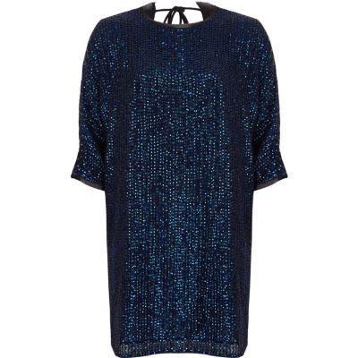 River Island Marineblauwe wijduitlopende verfraaide T-shirtjurk