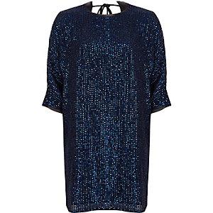 Marineblauwe wijduitlopende verfraaide T-shirtjurk