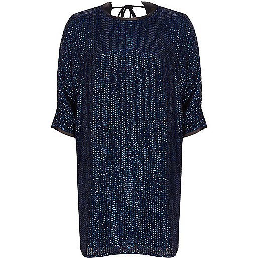 Navy embellished swing T-shirt dress