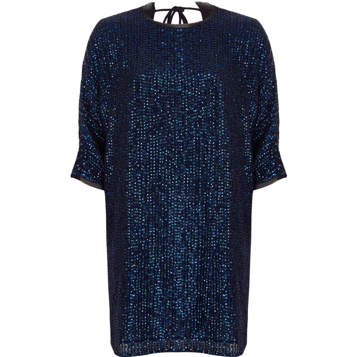 Navy embellished swing T-shirt dress