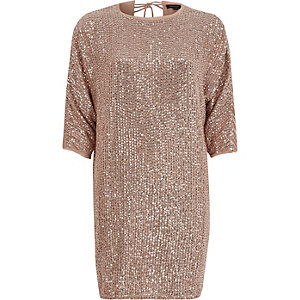Pink sequin embellished T-shirt shift dress