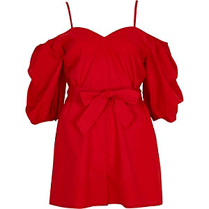 Red puff sleeve tie waist romper