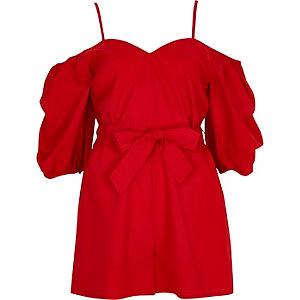 Combi-short rouge avec cordon à la taille et manches bouffantes
