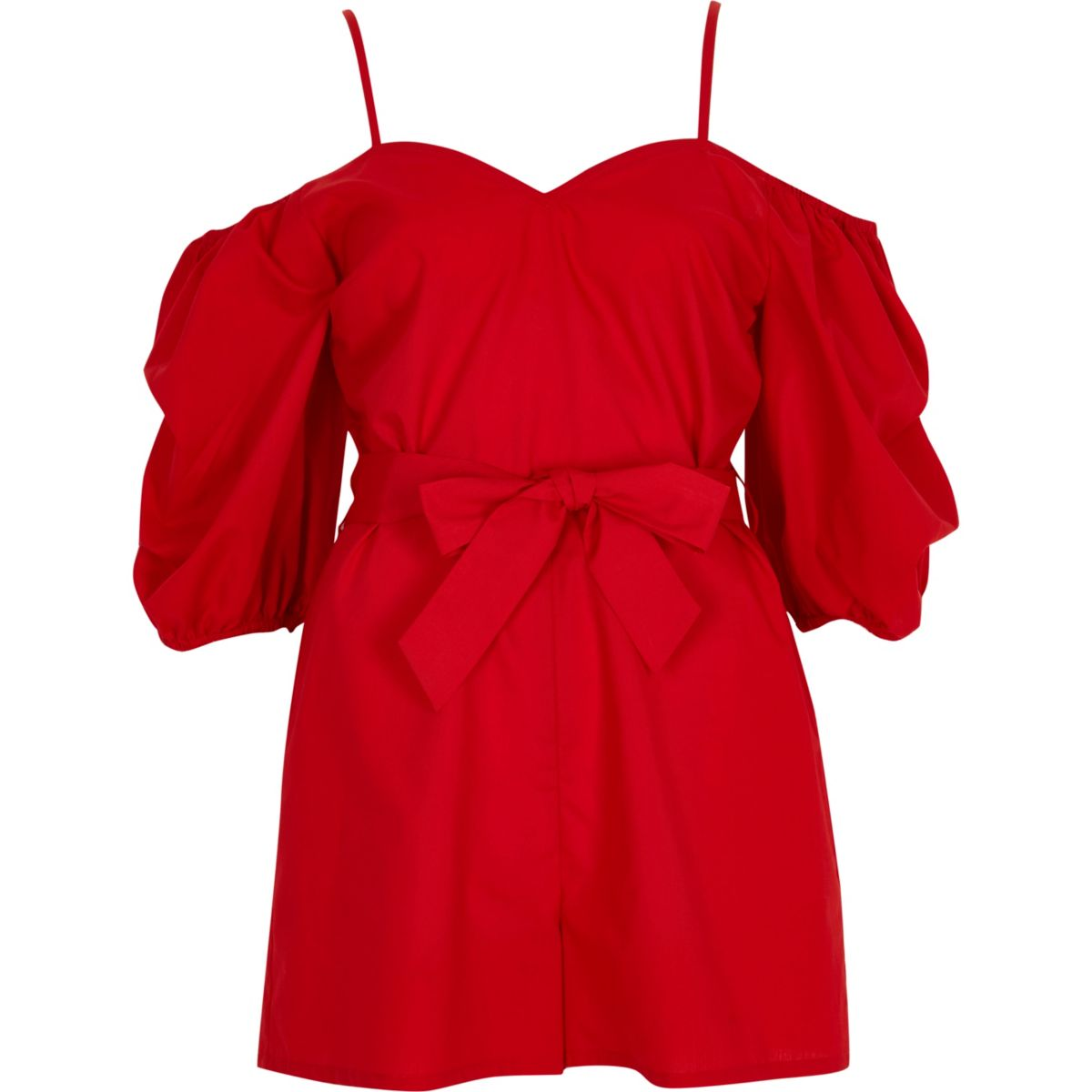 Red puff sleeve tie waist playsuit