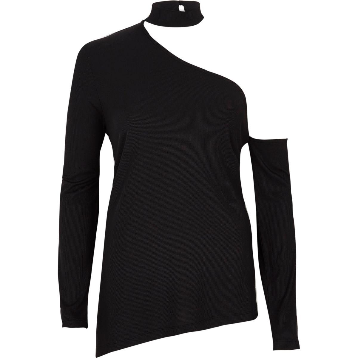 Black rib one shoulder choker top
