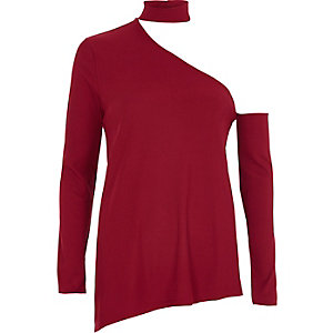 Red rib one shoulder choker top