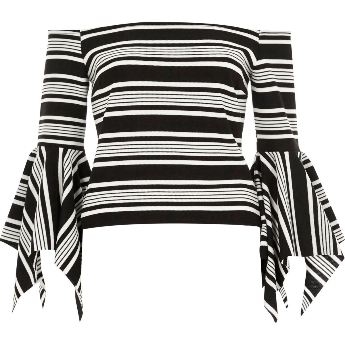 Black stripe frill sleeve bardot top