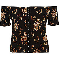 Black floral print bardot hook and eye top