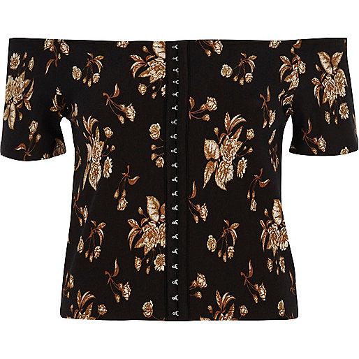 Black floral print bardot hook and eye top