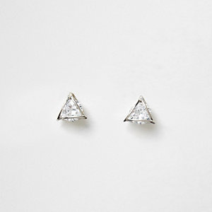 Silver tone rhinestone triangle stud earrings
