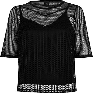 Black open mesh slim fit T-shirt