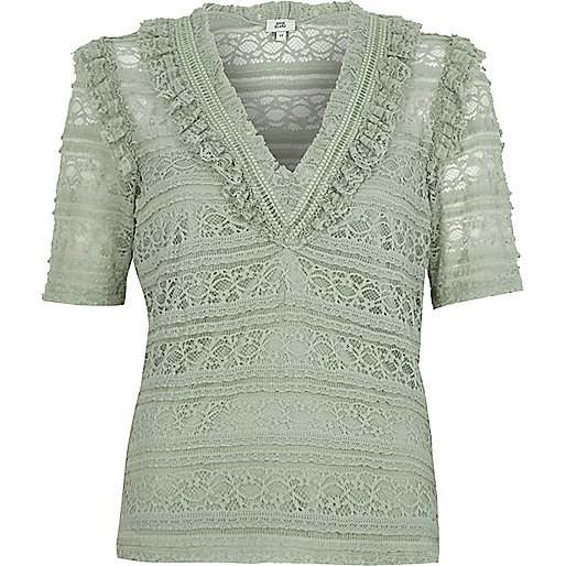 Green lace V neck fitted top