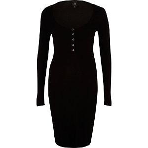 Black long sleeve ribbed bodycon dress