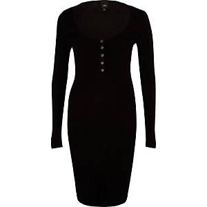 Black long sleeve ribbed bodycon dress
