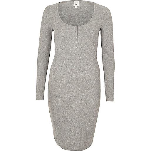 Grey ribbed long sleeve bodycon dress