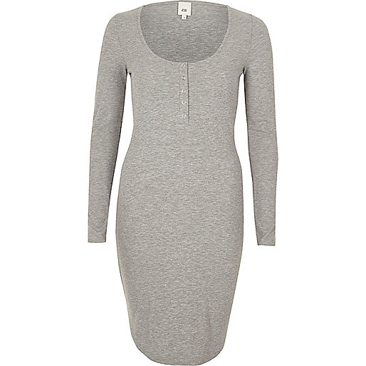 Grey ribbed long sleeve bodycon dress