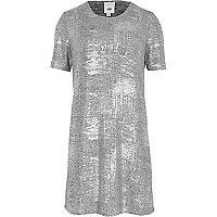 T-shirtjurk met zilverkleurig metallic folie