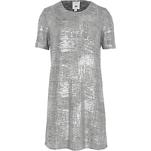 Silver metallic foil T-shirt dress