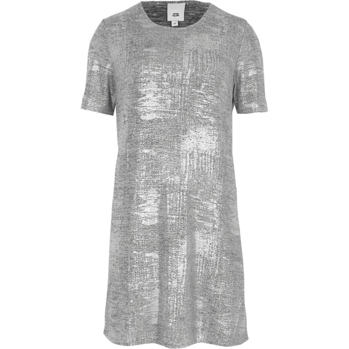 Silver metallic foil T-shirt dress