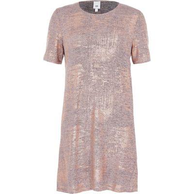 River Island T-shirtjurk met bronskleurig metallic folie